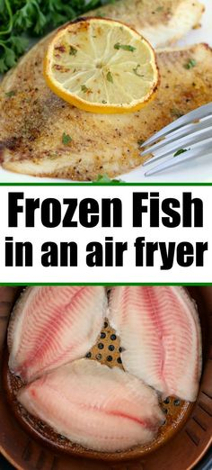 Frozen fish in air fryer is the way to go! Flaky tender meat inside with perfect crispiness to the outside. Lemon pepper tilapia or salmon done perfectly. Frozen Fish Fillets, Frozen Tilapia, Air Fryer Fish Recipes, Air Fryer Dinner Recipes, Fish In Air Fryer, Recipes Dinner, Instant Pot Fish Recipe, Recipe For Frozen Fish, Frozen Fish Recipes