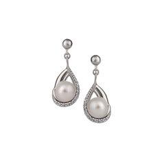 Náušnice s perlou a syntetický kameň 135-393-726100 | KlenotyAurum.sk