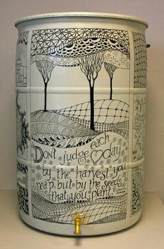 an inspired rain barrel design by Launie McDevitt and Lisa Ruschman