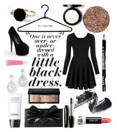 """#22 Little black dress"" by nailartlover ❤ liked on Polyvore featuring Nook & Willow, Giuseppe Zanotti, Marc by Marc Jacobs, Ann Taylor, Chanel, Forever 21, Bobbi Brown Cosmetics, Anna Sui and Lancôme"