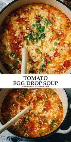 Add this quick and colorful tomato egg drop soup to your homemade Chinese takeout night menu! The aromatics and tomatoes are sauteed to release the fragrance, then cooked with egg ribbons in chicken broth with nutty sesame oil to finish it up. It is comforting and delicious and will warm your heart on a chilly day. {Gluten-Free, Vegetarian-Adaptable} @peteandgerrys #ad #BelieveInWhatYouBuy