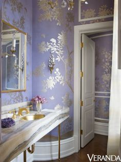 That is a really cool wallpaper in this #bathroom! What do you guys think? http://budgetbathandkitchen.com/