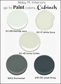 My Go To Paint Colors.Kitchen Cabinets - Abby M. Interiors Home Painting Kitchen Paint Colors, Interior Paint Colors, Paint Colors For Home, Paint Colours, Interior Painting, Kitchen Redo, Kitchen Cabinets, Bathroom Cabinets, Basement Kitchen