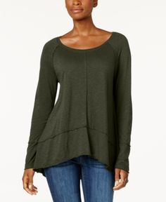 Style & Co Cotton High-Low Top, Created for Macy's - Green XXL