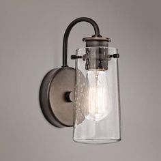 "Ordered two! Make sure to put on dimmer. 100watt light bulbs. Kichler Braelyn 9 1/2"" High Olde Bronze Wall Sconce. Lamps Plus."