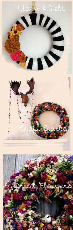 Wreaths...yarn, fabric, felt balls, split peas, butcher paper flowers...