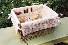 Project Basket is a lovely pattern for an embroidered basket liner, perfect for your sewing projects. Fabric Crafts, Sewing Crafts, Sewing Projects, Embroidery Tools, Basket Liners, Fabric Boxes, Sewing Baskets, Fabric Patch, Sewing Box