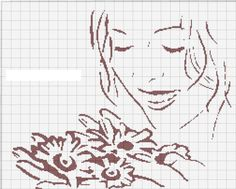 0 point de croix femme fleurs dans les mains - cross stitch girl with flowers in her hands