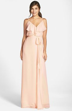 8bd50efb3ab827 drew ruffle front chiffon gown by nouvelle AMSALE. Soft and romantic