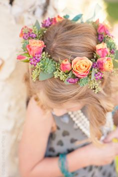 Cute flower girl hair wreath by Rose & Blossom. Photo by Rogue Heart Media.
