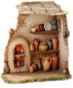 Inch Scale Lighted Pottery Shop by Fontanini Nativity Church, Christmas Nativity Scene, Christmas Crafts, Christmas Decorations, Christmas Ornaments, Nativity Scenes, Nativity Sets For Sale, Fontanini Nativity, Pottery Shop