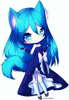 Kitsune en chibi et robe en bleue