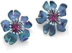 A pair of titanium, rubellite tourmaline and diamond flower earclips, by Margherita Burgener
