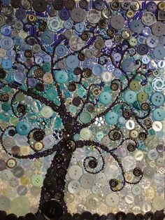 Tree at dusk canvas art - made with buttons and beads - Button Crafts Diy Buttons, Vintage Buttons, Crafts With Buttons, New Crafts, Arts And Crafts, Button Art On Canvas, Button Tree Art, Button Picture, Art Textile