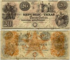 Front and back of Republic of Texas currency