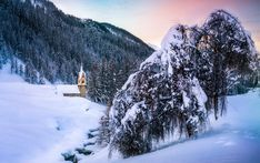 Zima, Góry, Las, Ośnieżone, Drzewa, Kościół, Rzeka