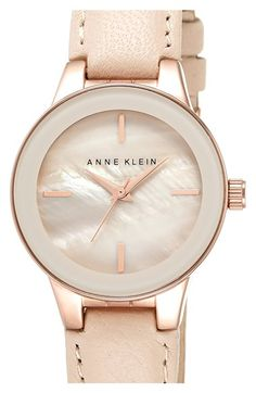 Anne+Klein+Round+Leather+Strap+Watch,+30mm+available+at+#Nordstrom