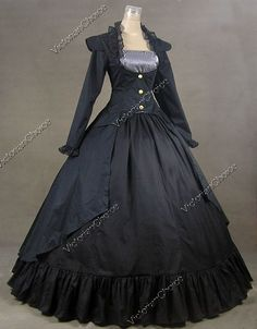 Gothic Victorian 3-PC Gown Jacket Dress Reenactment Halloween Costume
