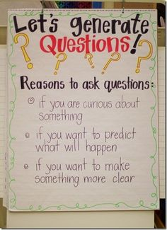Literature Questions anchor chart by Shannon R