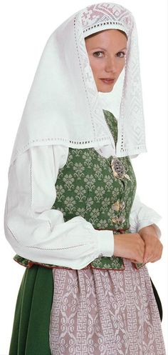 Norwegian headscarf. I believe this might have been the traditional headgear for a bride.