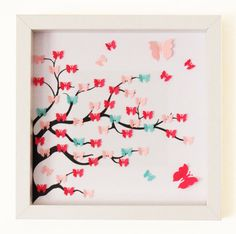 3D Butterflies / Card Butterflies / Pink / Fuchsia / Flying / Collage / Handmade / Gift / Wall Decor / Personalised / Tree / Branch on Etsy, $28.07