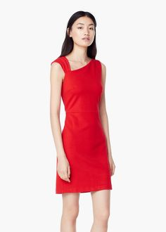 Fitted textured dress - Dresses for Women | MANGO