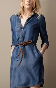 Love Love Love! Blue Denim Long Sleeve Dress  with Braided Belt! I would totally wear this with my Western Cowboy Boots! #Blue #Denim #Long_Sleeve #Dress #Western #Cowboy_Boots #Fashion