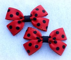 Black & Red Polka Dot Ladybug Clippie Bow by TandRCraftyBowtique