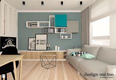 mały salon w pastelowych kolorach w stylu nowoczesnym