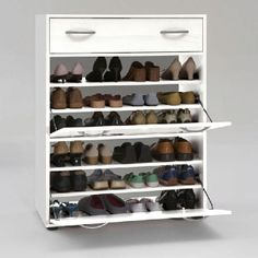 Shoe storage & display surface on top