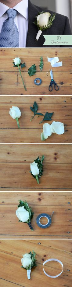 DIY Boutonniere – Super Simple Wedding DIY Floral Project #wedding #diy. View more tips & ideas on our Facebook Page : https://www.facebook.com/BoutiqueBridalParty?utm_content=buffer32088&utm_medium=social&utm_source=pinterest.com&utm_campaign=buffer