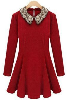 Red Contrast Sequined Collar Long Sleeve Skater Dress. Reminds me of Willy Wonka and the Chocolate Factory!