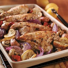 Lemon Greek Chicken --Pampered Chef®. Love this recipe, but I use boneless chicken breasts.