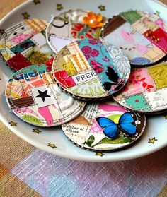 Scrap Magnets...these would be cute as brooches or coasters!