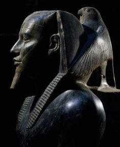 Diorite Statue of King Khafra on throne with wings of falcon god Horus wrapped around his head, 168cm x 57cm, from Giza. Old Kingdom, 4th Dynasty, ca. 2570 BC. Egyptian Museum, Cairo.