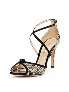 Berrie Python & Suede Sandal from Designer Shoes Feat. Brian Atwood on Gilt