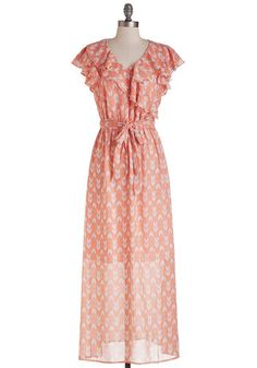 This is Bliss Dress - Coral, Pink, Print, Other Print, Ruffles, Belted, Casual, Maxi, Cap Sleeves, Spring, Woven, Good, Long