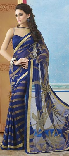 184522 Blue  color family Party Wear Sarees, Printed Sarees in Faux Georgette fabric with Lace, Printed work   with matching unstitched blouse.