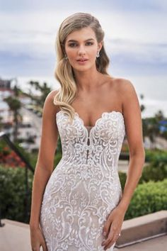 F211056 Gorgeous Embroidered Lace Wedding Dress with Strapless Sweetheart Neckline Dream Wedding Dresses, Wedding Gowns, Lace Wedding, Mermaid Wedding, Jasmine Bridal, Strapless Sweetheart Neckline, Try On, Bridal Lace, Bridal Boutique