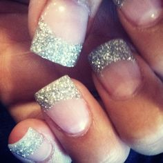 Glitter tips! With red line underneath the glitter