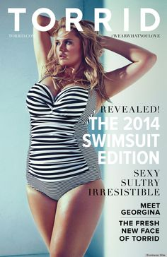 Torrid, Hot Topic's plus-size division, has released its 2014 Swimsuit Edition catalog featuring Australian model Georgina Burke on the cover. Curvy Fashion, Plus Size Fashion, Fashion Models, Fashion Fashion, Georgina Burke, Trendy Plus Size Clothing, Plus Size Outfits, White Swimsuit, Fashion Editorials