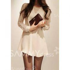 $11.48 Elegant Openwork Beam Waist Flounce Chiffon Dress For Women