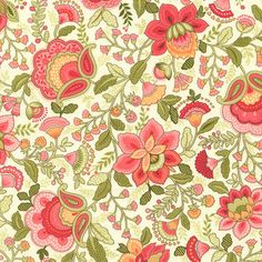 Emma Jacobean Floral in Coral  (c1736) - Timeless Treasures Fabric - 1 yard - Moona Fabrics, Etsy