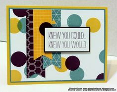 Stampin Sunshine: Polka Dot Fever moonlight dsp, background stamped with circle stamp - honey, blackberry, lost lagoon