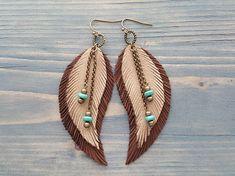 Beige Leather Earrings Leather Feather Earrings Bohemian Jewelry Boho Earrings Hippie Earrings Bronze Tribal Earrings Bohemian Earrings