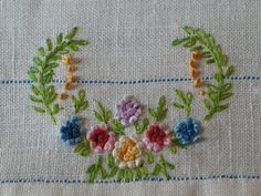 EMBROIDERED DOILIE 1940 Hand Work Embroidery, Types Of Embroidery, Embroidery Needles, Ribbon Embroidery, Floral Embroidery, Cross Stitch Embroidery, Embroidery Patterns, Embroidery Techniques, Patch