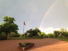 Beautiful rainbow arching across the Texas skies!