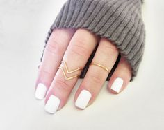 Gold Knuckle Ring Chevron Set of 3 Gold Tone Handmade Stacking Adjustable First Knuckle Rings, Band and Chevron Dainty Petite Midi