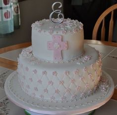 1St Communion Design originally done by yummysweettreats. Emma's mom found this cake and asked if I could make it for her princess&#...