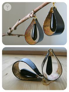 paper earrings | DarkDrop | paper, faux gold leaf, dark agate